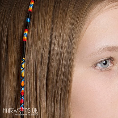 Removable Black, Yellow, and Orange Hair Wrap with Wooden Beads - Dark Lady.