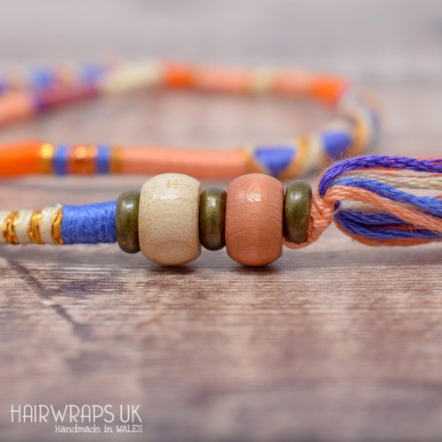 Removable Peach, Blue and Orange Hair Wrap with Wooden Beads – Divine.