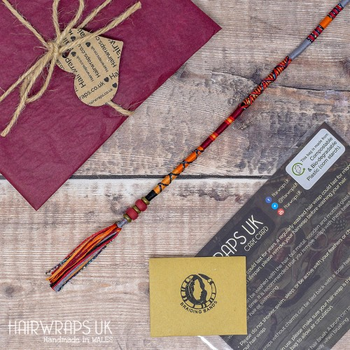 Removable Red, Gold, Orange, and Grey Hair Wrap with Glass Beads – Dragon.