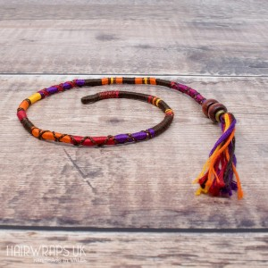 Removable Red, Brown and Purple Hair Wrap with Wooden Beads - Drummer Girl.