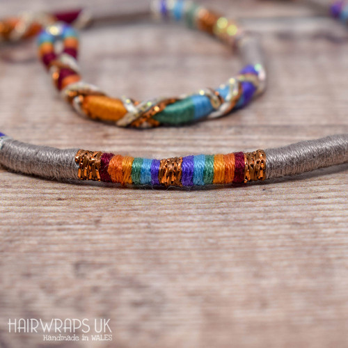Removable Grey Rainbow Hair Wrap with Glass Beads - Dusty Rainbow.