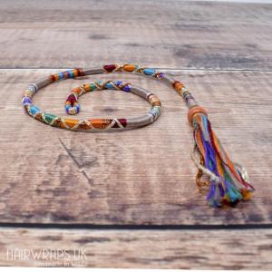 Removable Grey Rainbow Hair Wrap with Glass Beads - Dusty Rainbow.
