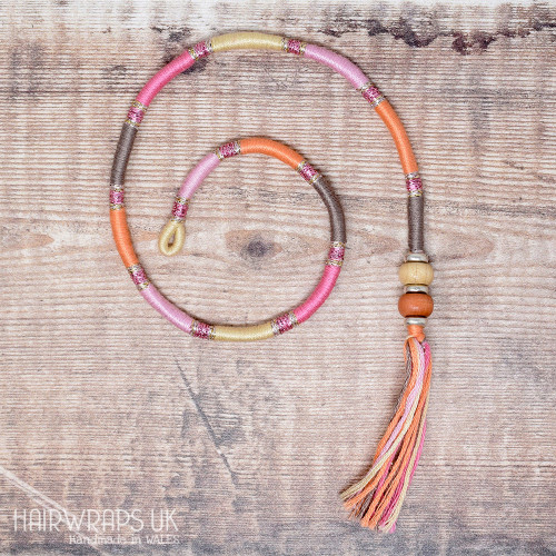 Removable Pink, Peach, and Grey Hair Wrap with Wooden Beads - Elfin Chick.