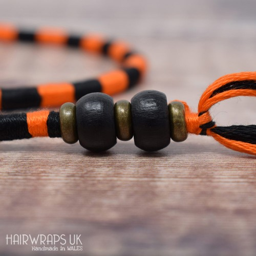 Removable Black and Orange Hair Wrap with Wooden Beads - Elfin Emo.