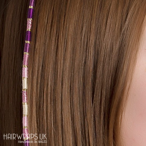 Removable Purple, Pink and Cream Hair Wrap with Glass Beads - Elfin Plum.