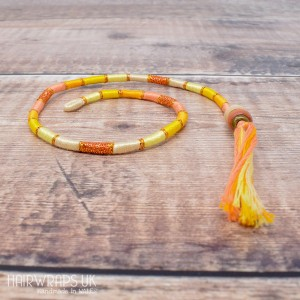 Removable Yellow, Peach and Cream Hair Wrap with Wooden Beads – Elfin Primrose.