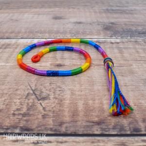 Removable Bright Rainbow Hair Wrap with Glass Beads - Elfin Rainbow.