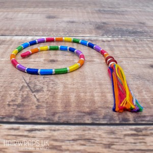 Removable Silver and Bright Rainbow Hair Wrap with Glass Beads - Elfin Silver Rainbow.