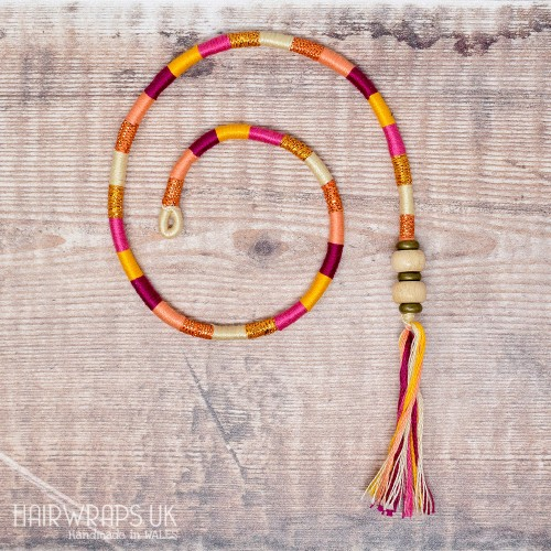 Removable Pink, Yellow and Peach Hair Wrap with Wooden Beads - Elfin Smoothie.