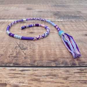 Removable Purple, Pink and Blue Hair Wrap with Glass Beads – Faerie.