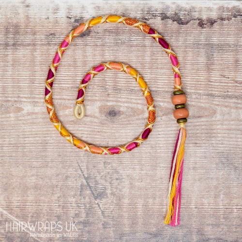 Removable Pink and Yellow Hair Wrap with Wooden Beads - Fairy Flame.