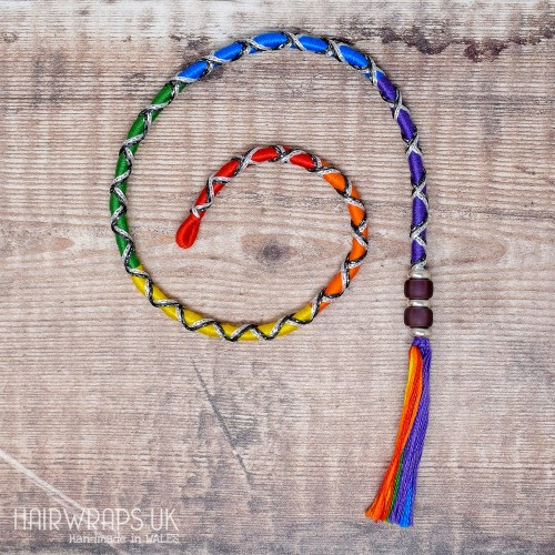 Removable Rainbow Criss-Cross Hair Wrap with Glass Beads - Fairy Rainbow.