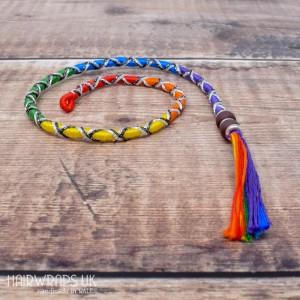 Removable Rainbow Criss-Cross Hair Wrap with Glass Beads - Fairy Rainbow.
