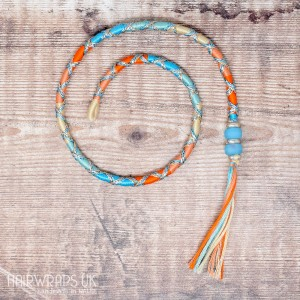 Removable Blue and Orange Hair Wrap with Glass Beads - Fairy Sunset.