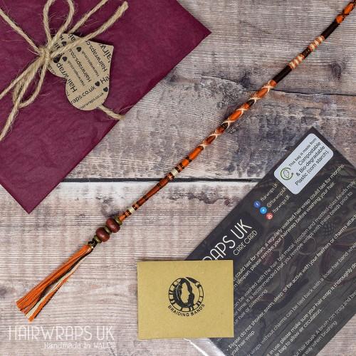 Plait-in Cotton Hair Braid. Hippie Hair Wrap with Wooden Beads - Fantastic Fox.
