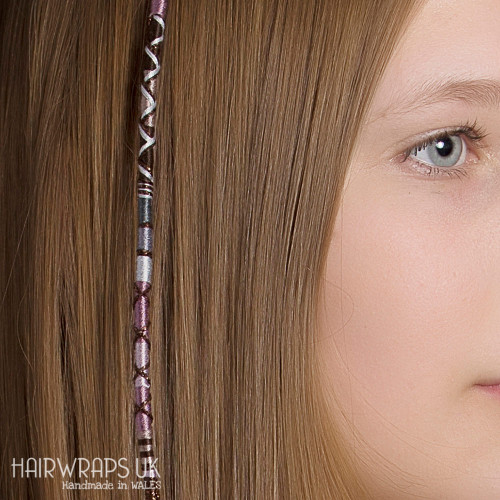 Removable Grey, Brown, and Beige Hair Wrap with Wooden and Glass Beads – Feather.