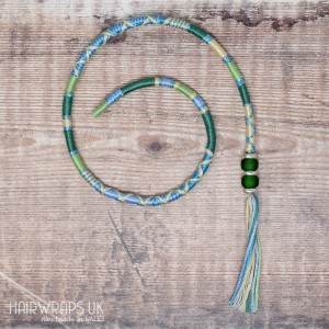 Removable Blue and Green Hair Wrap with Glass Beads - First Frost.
