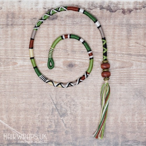 Removable Brown, Green, and Cream Hair Wrap with Wooden Beads - Forest Fall.