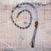 Removable Blue and Brown Hair Wrap with Wooden Beads - Forest Sky.