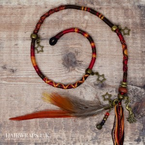 Removable Red, Brown and Orange Hair Wrap with Wooden Beads and Bronze Charms - Free Spirit.