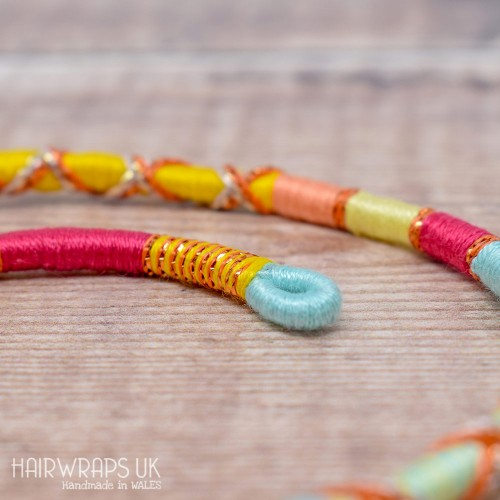 Removable Pink, Yellow, and Blue Hair Wrap with Wooden Beads - Fruit Salad.