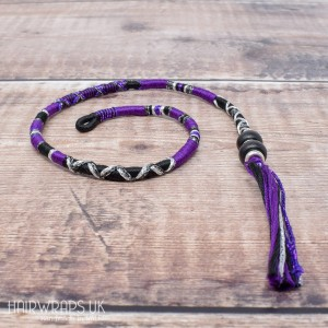Removable Black and Purple Hair Wrap with Wooden Beads - Golly Goth.