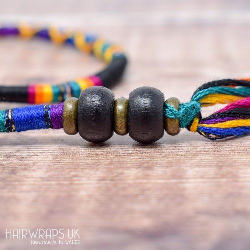 Removable Black and Dark Rainbow Hair Wrap with Wooden Beads - Gothic Rainbow.