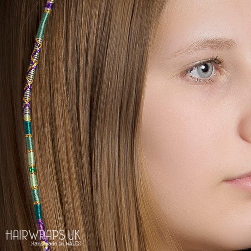 Removable Green and Purple Hair Wrap with Glass Beads - Heather Glade.