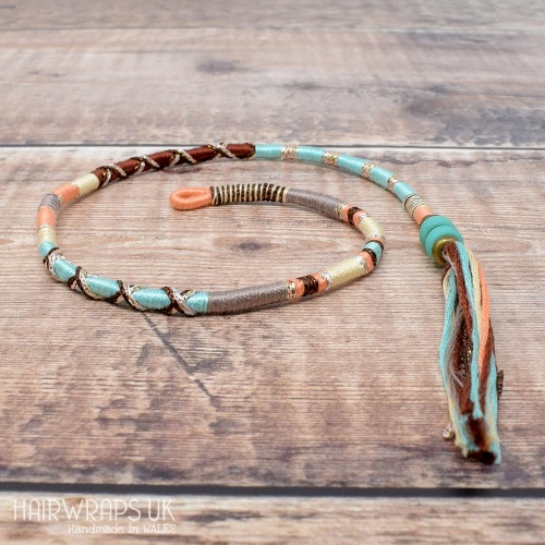 Removable Pale Green, Brown, and Peach Hair Wrap with Glass Beads - Hush Hush.
