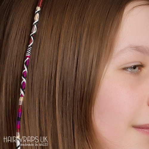Removable Purple, Brown, Grey and Cream Hair Wrap with Glass Beads – Indulgence.