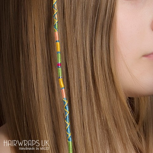 Removable Green, Yellow, Pink Hair Wrap with Glass Beads - Inner Peace.