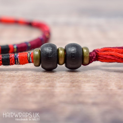 Removable Black and Red Hair Wrap with Wooden Beads – Ladybird.