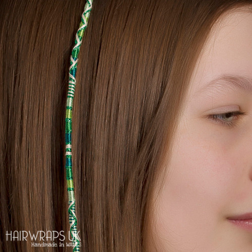 Removable Green Hair Wrap with Glass Beads – Meadow.