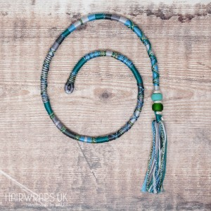 Removable Blue, Green, and Grey Hair Wrap with Glass beads – Mermaid.