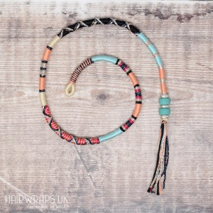 Removable Black, Turquoise, and Peach Hair Wrap with Glass Beads - Midnight Party.