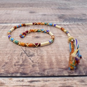 Removable Cream and Rainbow Hair Wrap with Glass Beads - Misty Rainbow.