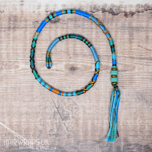 Removable Green, Turquoise, and Blue Hair Wrap with Glass Beads – Neptune.