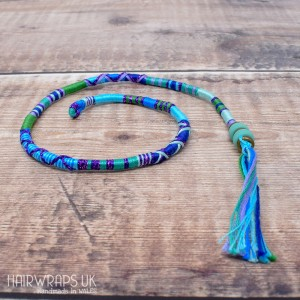 Removable Blue and Green Hair Wrap with Glass Beads – Ocean.