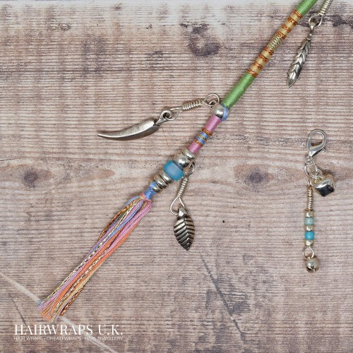 Removable Pastel Green, Blue, and Pink Boho-Style Hair Wrap with Leaf and Bell Charms - Pastel Forest