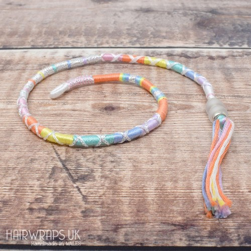Removable Pastel Rainbow Hair Wrap with Glass Beads - Pastel Rainbow.