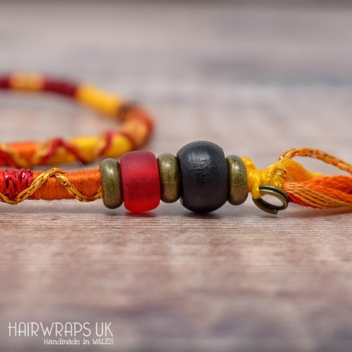 Removable Black, Orange, Red, and Gold Hair Wrap with Wooden and Glass Beads – Phoenix.