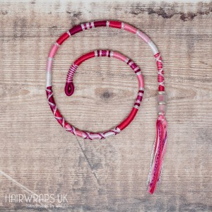 Removable Pink and White Hair Wrap with Glass Beads - Pink Paradise.