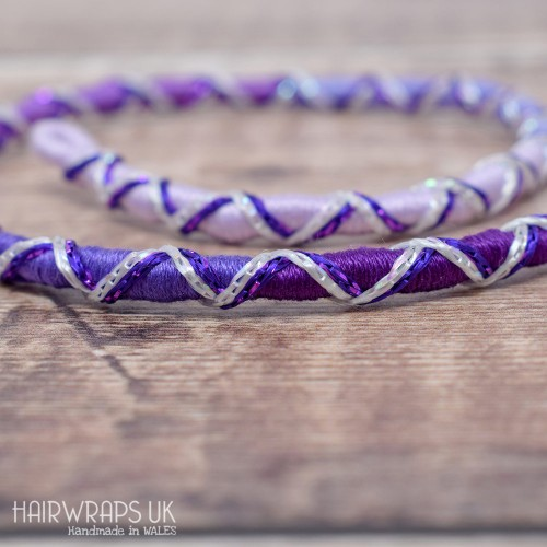 Removable Purple Ombre Criss-Cross Hair Wrap with Glass Beads - Pixie Bell.