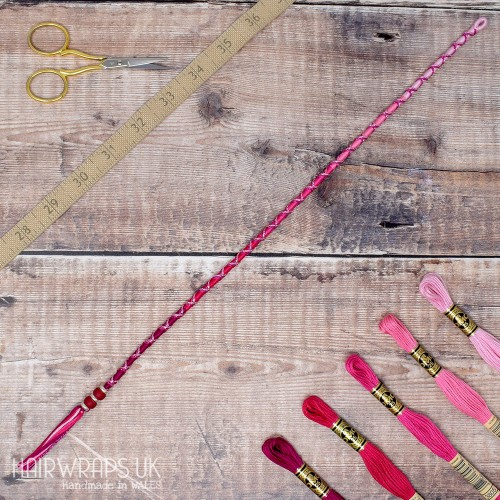 Removable Pink Ombre Hair Wrap with Glass Beads - Pixie Blush.