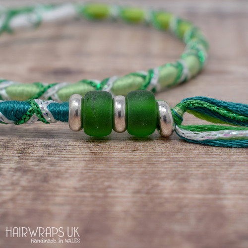 Removable Green Ombre Criss-Cross Hair Wrap with Glass Beads - Pixie Leaf.