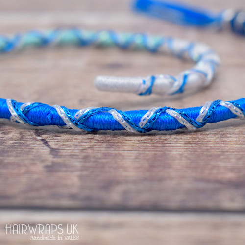Removable Blue Ombre Hair Wrap with Glass Beads - Pixie Ocean.
