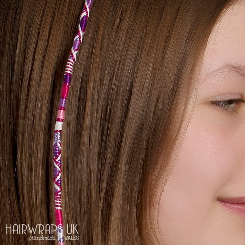Removable Pink and Purple Hair Wrap with Glass Beads - Pretty Sparkle.