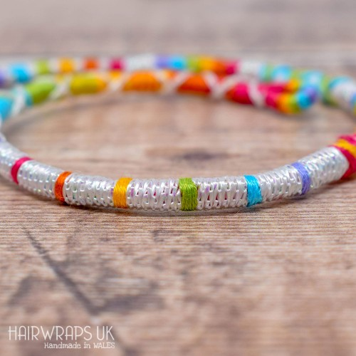 Removable Rainbow Hair Wrap with Glass beads - Rainbow Unicorn.
