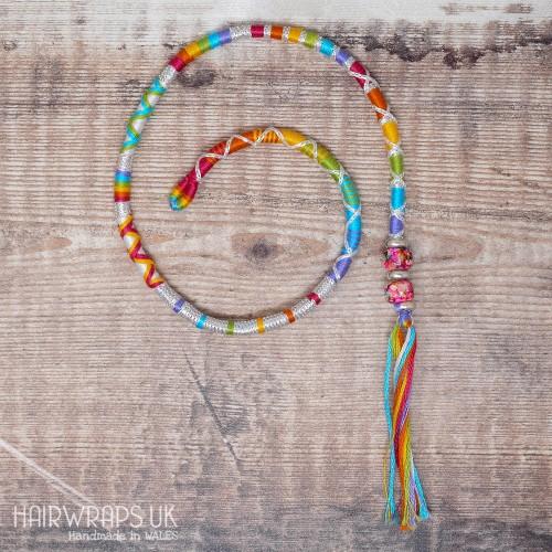 Removable Rainbow Hair Wrap with Glass beads - Rainbow Unicorn.
