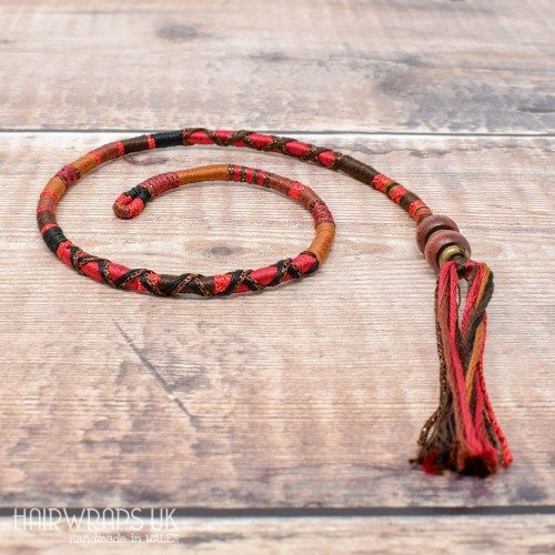 Removable Brown, Black, and Red Hair Wrap with Wooden Beads – Rooster.
